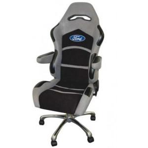 Chaise de Bureau Gris/Noir Logo oval Ford